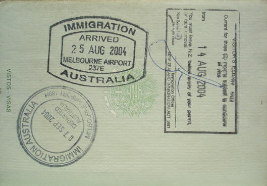 New Zealand Passport With Australian Customs Stamps Photo Supplied