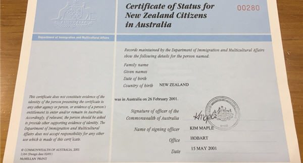 Certificate of Status for New Zealanders