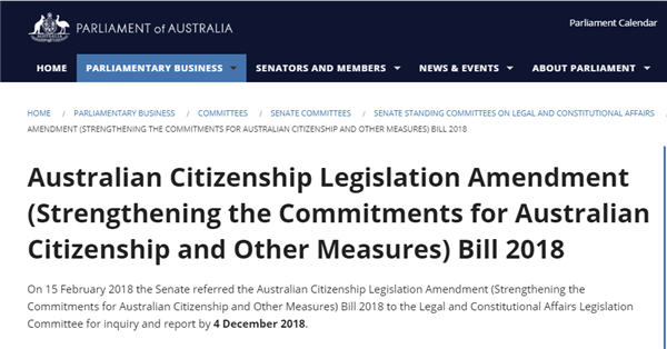 Citizenship Bill 2018 Senate Inquiry