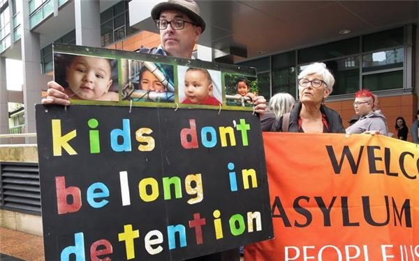 Protesters Sydney Immigration office RNZ AFP
